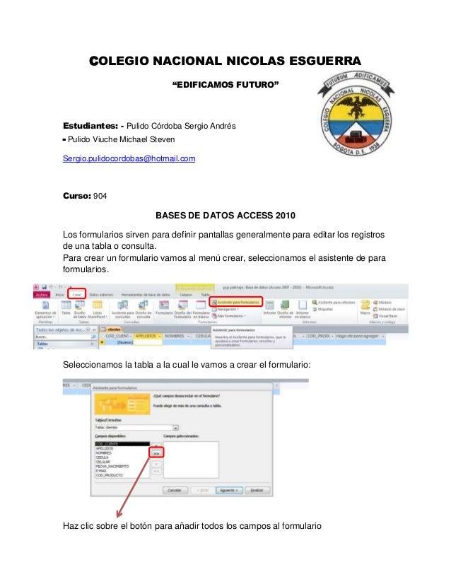 """COLEGIO NACIONAL NICOLAS ESGUERRA """"EDIFICAMOS FUTURO"""" Estudiantes: - Pulido Córdoba Sergio Andrés - Pulido Viuche Michael ..."""