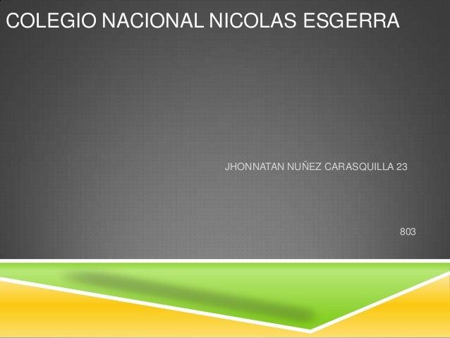 COLEGIO NACIONAL NICOLAS ESGERRA JHONNATAN NUÑEZ CARASQUILLA 23 803