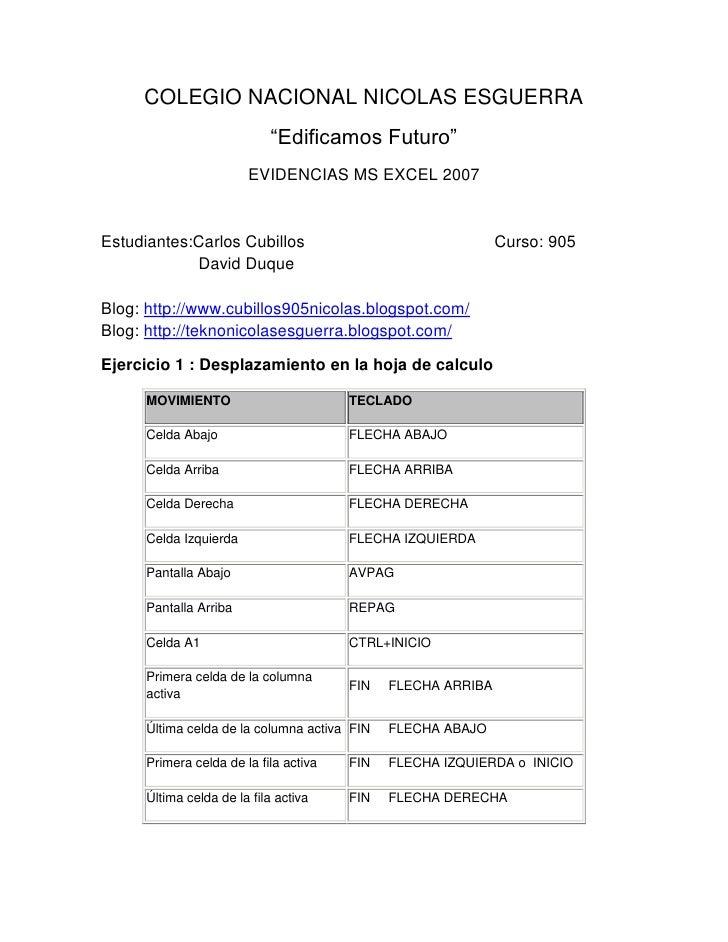 """COLEGIO NACIONAL NICOLAS ESGUERRA                             """"Edificamos Futuro""""                        EVIDENCIAS MS EXC..."""