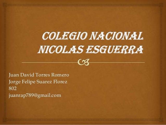 Juan David Torres RomeroJorge Felipe Suarez Florez802juanrap789@gmail.com