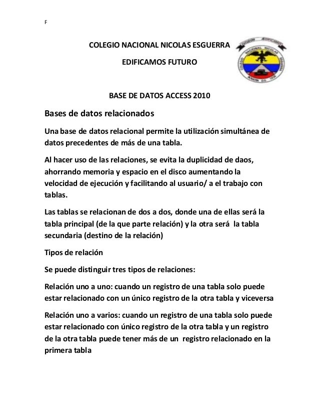 F COLEGIO NACIONAL NICOLAS ESGUERRA EDIFICAMOS FUTURO BASE DE DATOS ACCESS 2010 Bases de datos relacionados Una base de da...