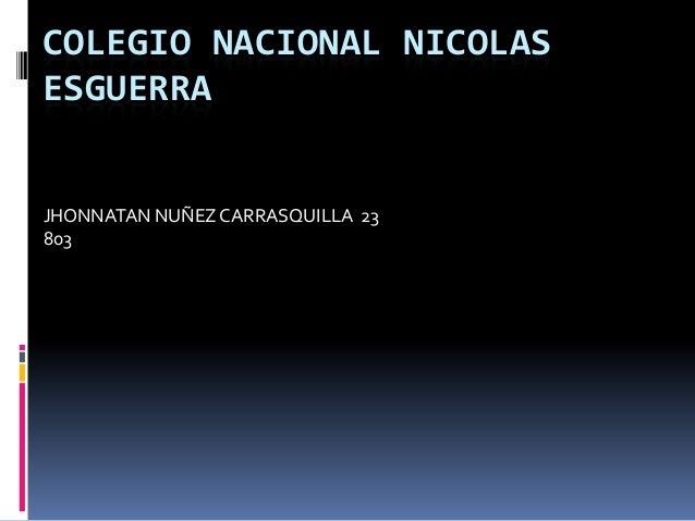 COLEGIO NACIONAL NICOLAS ESGUERRA JHONNATAN NUÑEZCARRASQUILLA 23 803