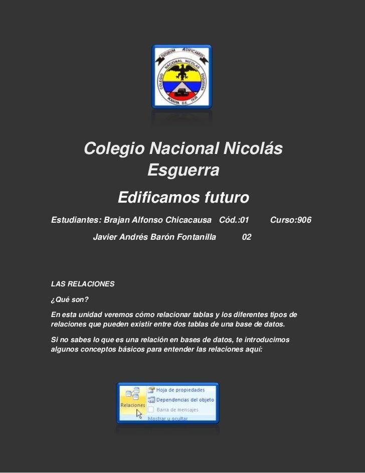 Colegio Nacional Nicolás                 Esguerra                   Edificamos futuroEstudiantes: Brajan Alfonso Chicacaus...