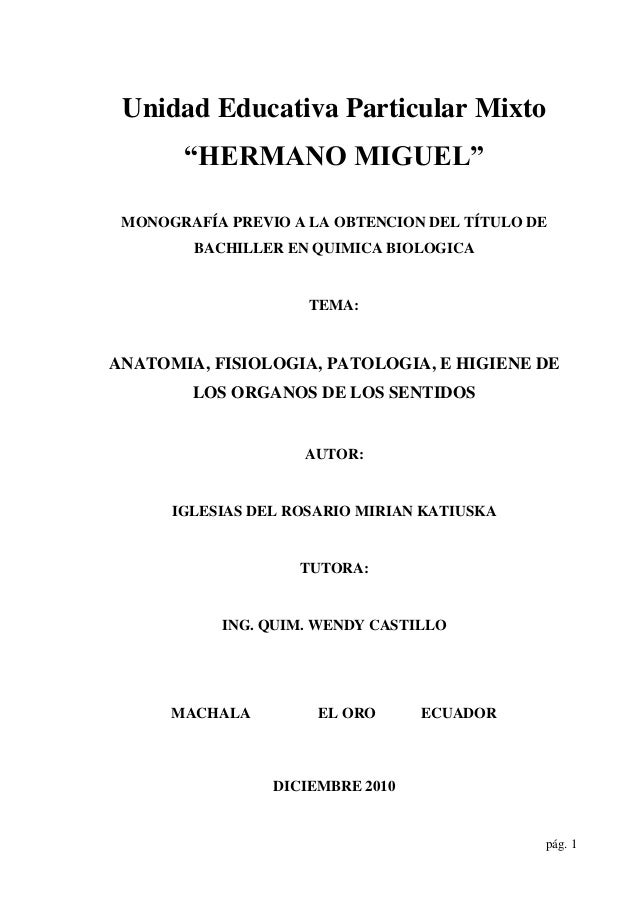 """Unidad Educativa Particular Mixto """"HERMANO MIGUEL"""" MONOGRAFÍA"""