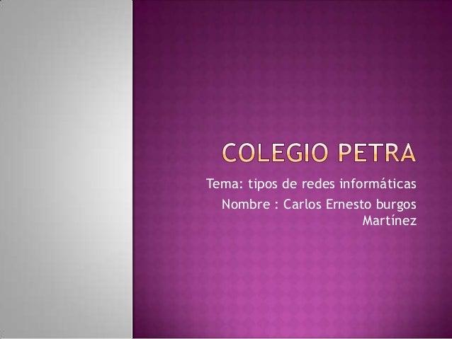 Tema: tipos de redes informáticas Nombre : Carlos Ernesto burgos Martínez