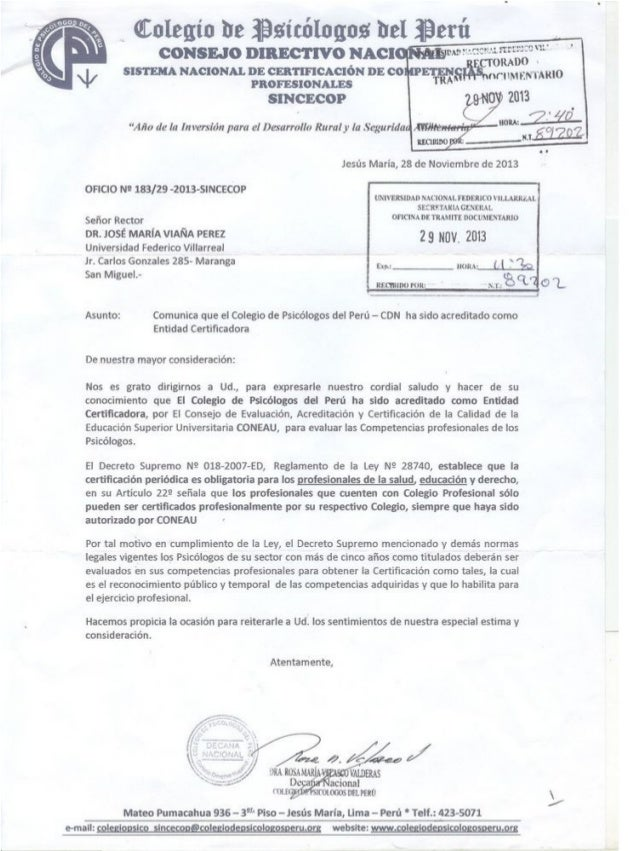 Comunicado Colegio de Psicólogos del Perú
