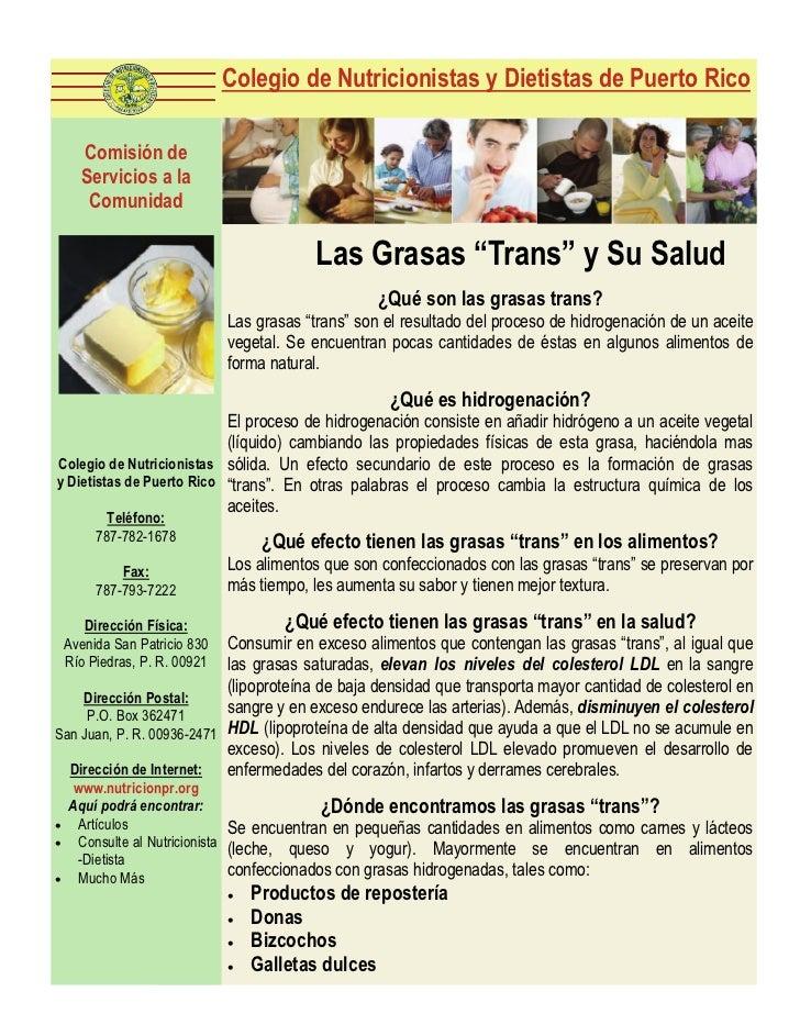 """Las Grasas """"Trans"""" y Su Salud"""