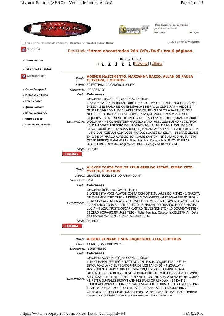 Livraria Papirus (SEBO) - Venda de livros usados!                                                                 Page 1 o...