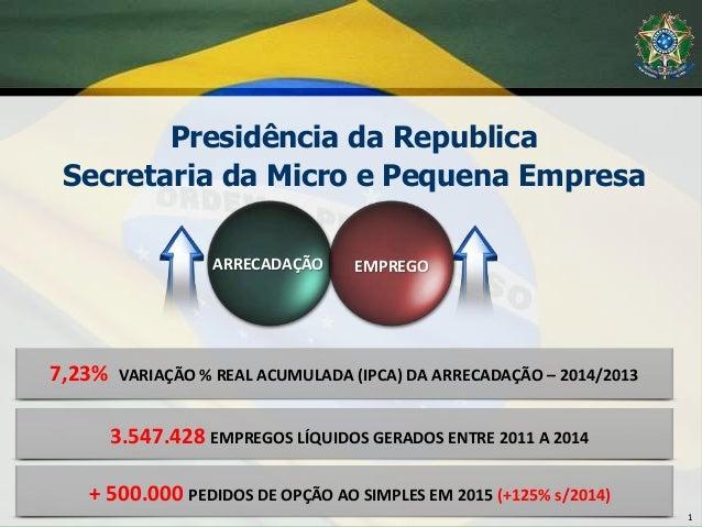 Presidência da Republica Secretaria da Micro e Pequena Empresa 1 ARRECADAÇÃO EMPREGO 3.547.428 EMPREGOS LÍQUIDOS GERADOS E...