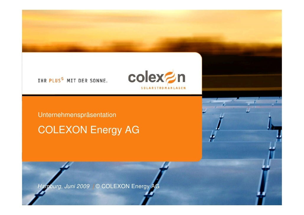 Übernahme renewagy (01.06.2008) - COLEXON Energy AG
