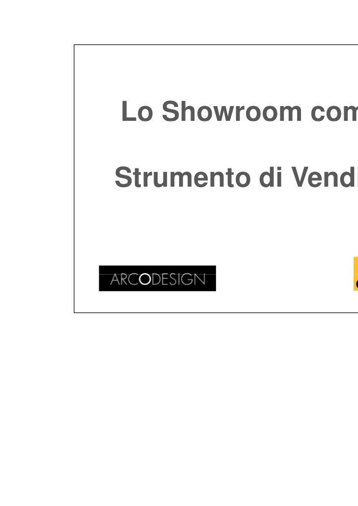 21/11/2011Lo Showroom comeStrumento di Vendita                               1