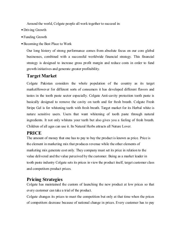 strategic marketing colgate essay This presentation is about the marketing strategy & plc ie product life cycle of fmcg products like colgate & dairy milk and a consumer durable good ie samsu.