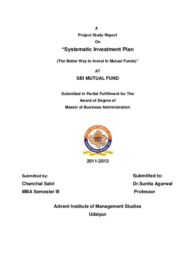 """A                            Project Study Report                                     On                   """"Systematic Inv..."""