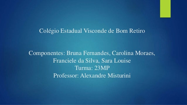 Colégio Estadual Visconde de Bom Retiro Componentes: Bruna Fernandes, Carolina Moraes, Franciele da Silva, Sara Louise Tur...