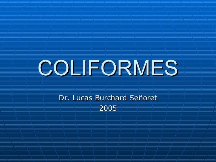 COLIFORMES Dr. Lucas Burchard Señoret 2005