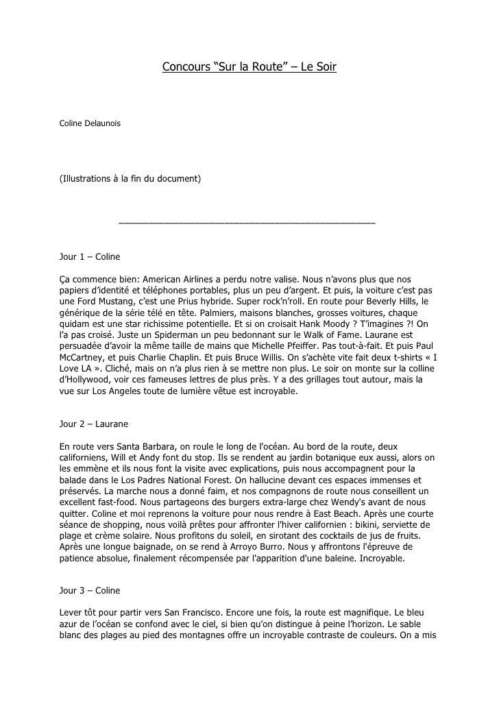 """Concours """"Sur la Route"""" – Le SoirColine Delaunois (25/05/1990)(Illustrations à la fin du document)               –––––––––..."""