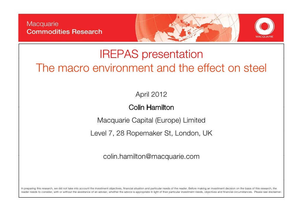 Colin Hamilton's presentation at SteelOrbis Spring '12 Conference & 66th IREPAS Meeting