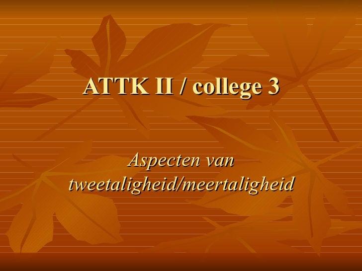 ATTK II / college 3 Aspecten van tweetaligheid/meertaligheid