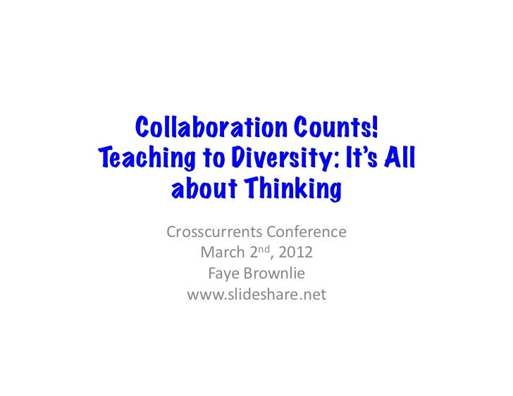 Collaboration Counts!Teaching to Diversity: It's All      about Thinking      Crosscurrents Conference           March...