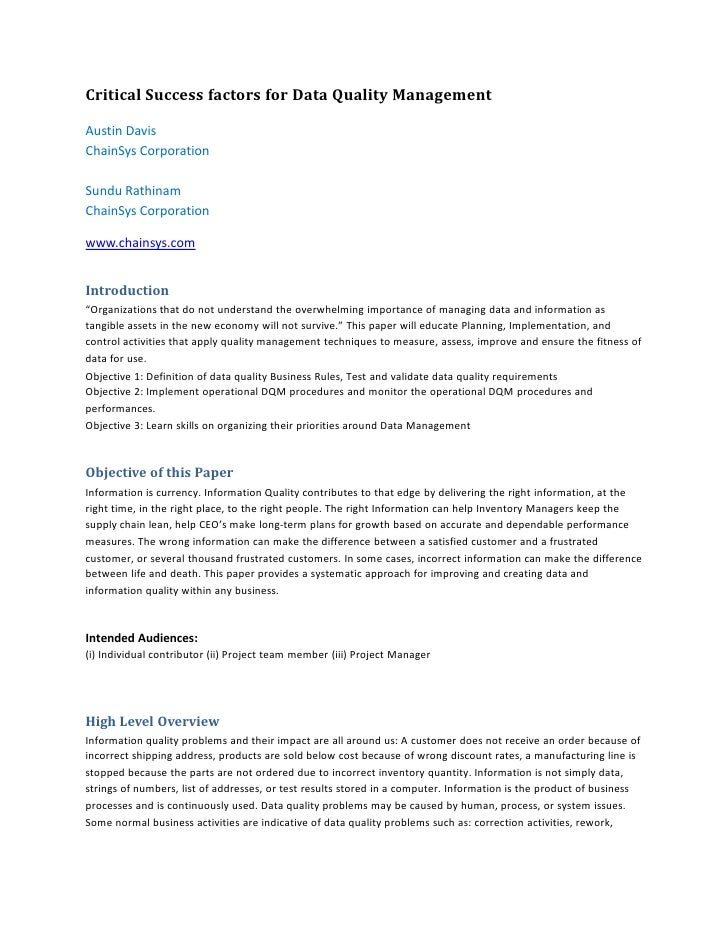 Collaborate 2012-critical success factors for data quality management - wp