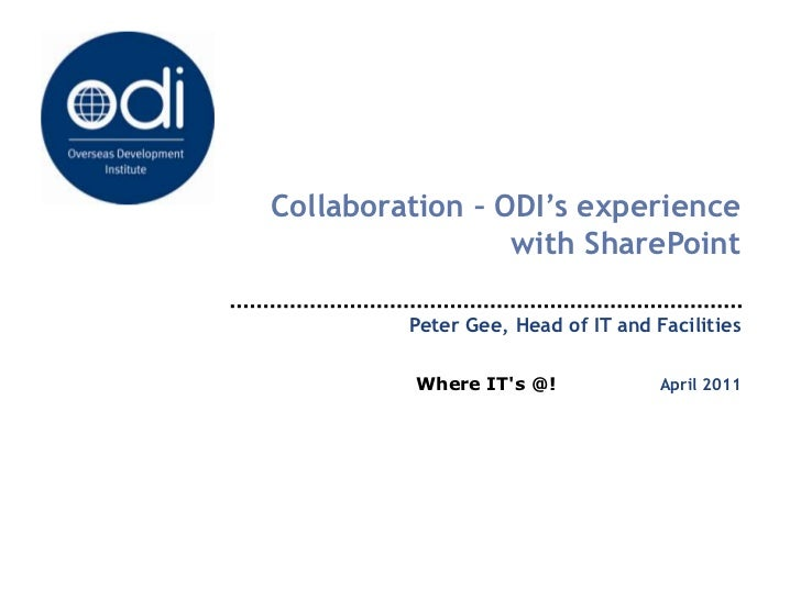 Collaboration - Dr Peter Gee, Overseas Development Institute