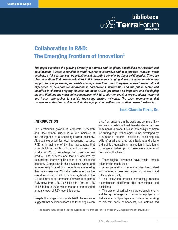 Collaboration in R&D: The Emerging Frontiers of Innovation