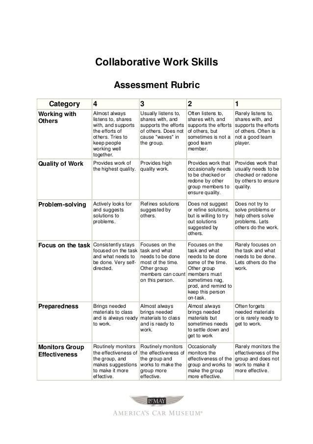 Collaborative Teaching Pdf ~ Collaboration rubric