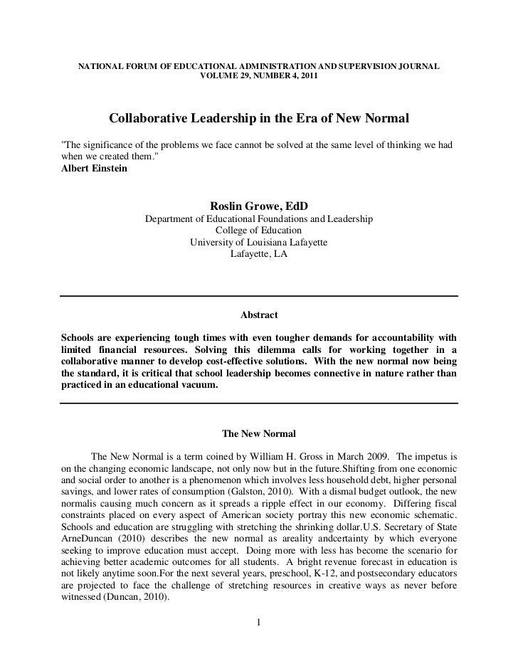 Collaborative leadership in an era of the new normal done (nfeasj)