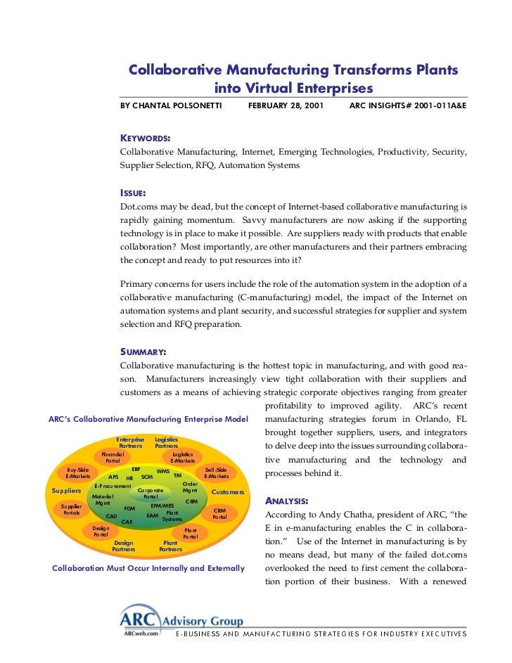 Collaborative manufacturing transforms plants into virtual enterprises