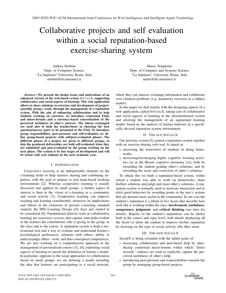 Collaborative Projects And Self Evaluation Within A Social Reputation Based Exercise Sharing System