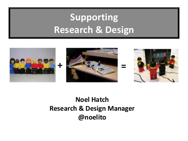 Supporting Research & Design  +                 =        Noel HatchResearch & Design Manager         @noelito