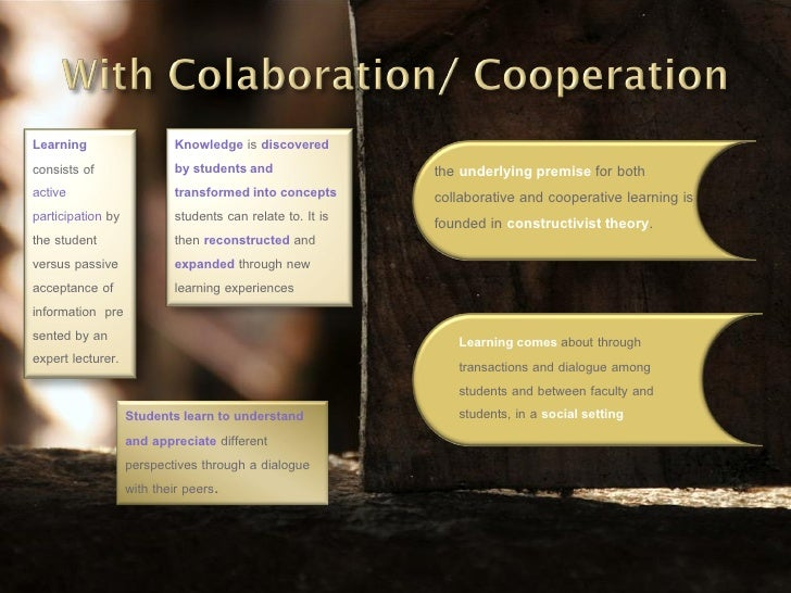 a definition of collaborative vs cooperative Cooperative vs competitive conflict styles  defining conflicting interests as a mutual problem to be solved by collaborative effort facilitates recognizing the .