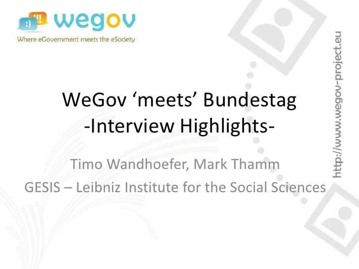 WeGov 'meets' Bundestag - Interview Highlights of the initial Toolbox