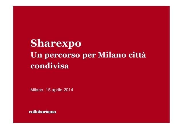 Sharexpo Un percorso per Milano città condivisa Milano, 15 aprile 2014