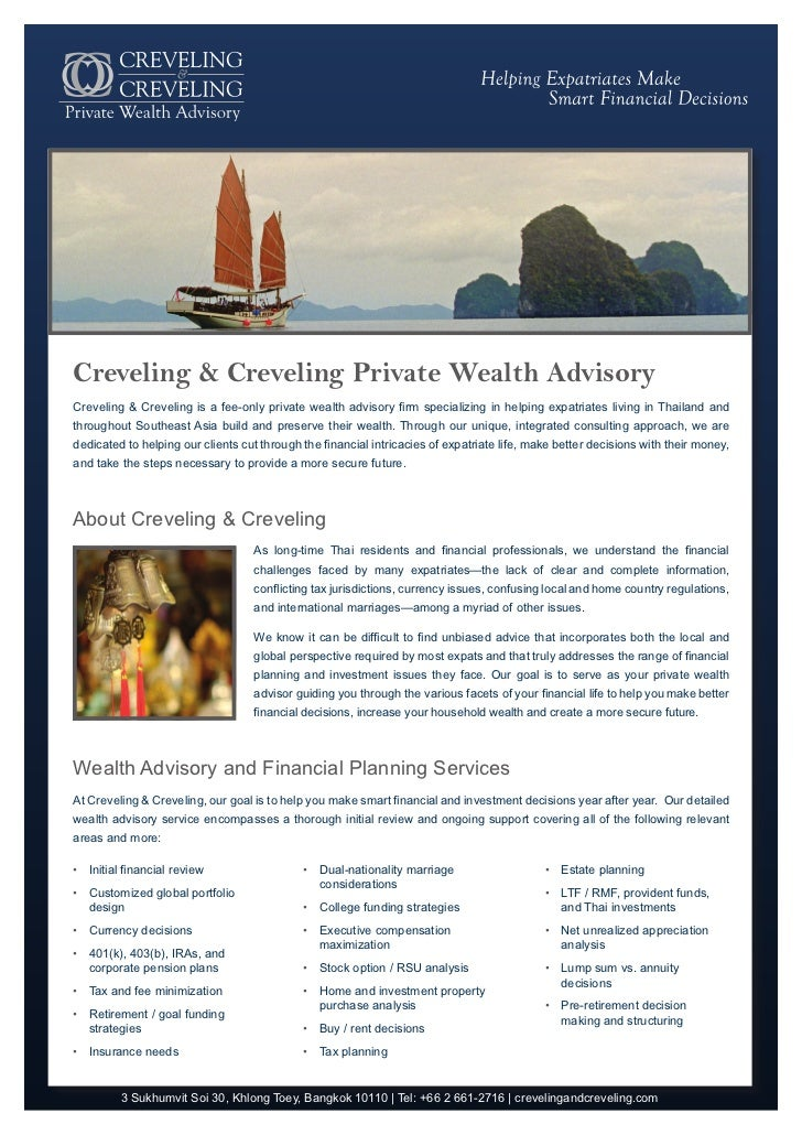 Creveling & Creveling Private Wealth AdvisoryCreveling & Creveling is a fee-only private wealth advisory firm specializing...