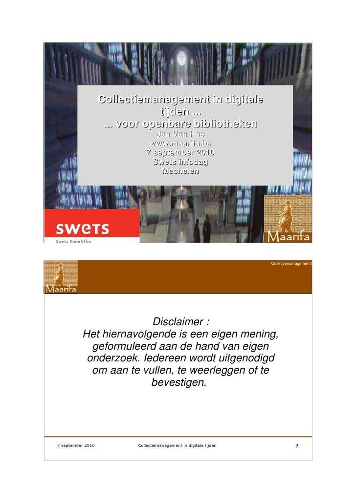 Collectiemanagement in digitale tijden ... voor openbare bibliotheken