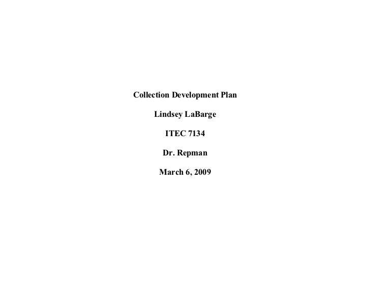 Collection Development Plan