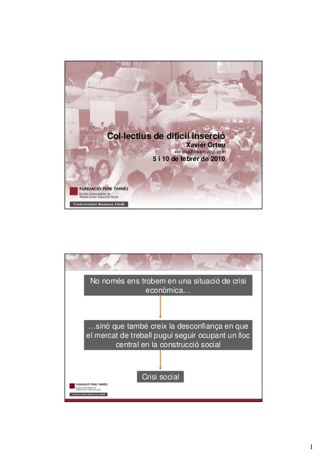 1 TITOL Col·lectius de dificil inserció Xavier Orteu xorteu@insercoop.com 5 i 10 de febrer de 2010 Crisi social …sinó que ...