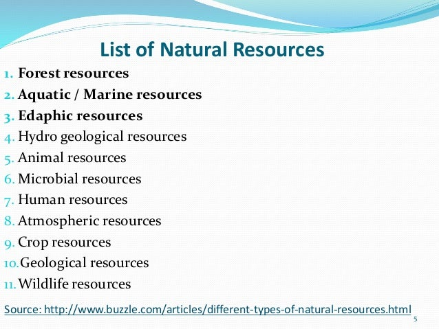 List Five Natural Resources