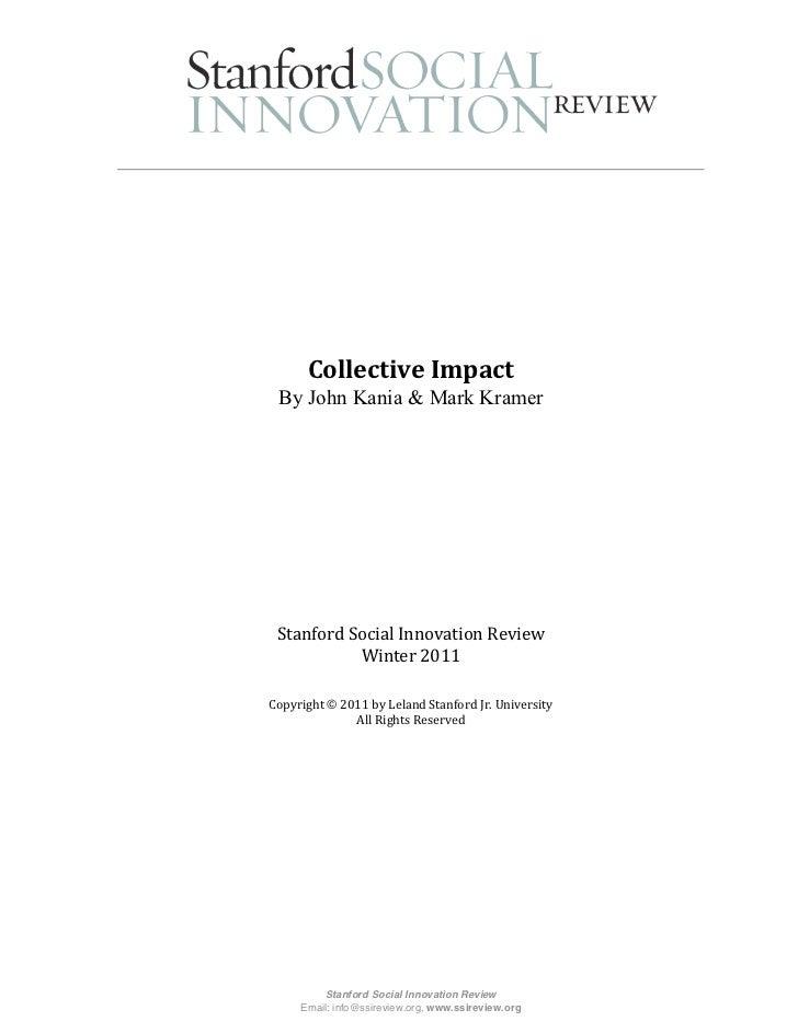 Collective Impact - Kania & Kramer - Stanford SIR