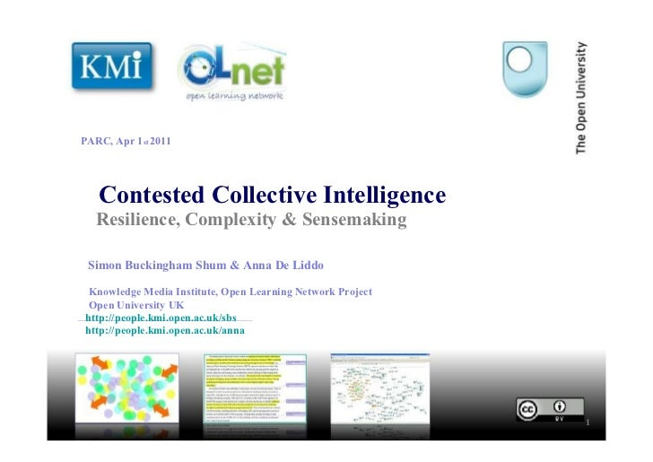 Contested Collective Intelligence Resilience, Complexity & Sensemaking 1 Simon Buckingham Shum & Anna De Liddo Knowledge M...