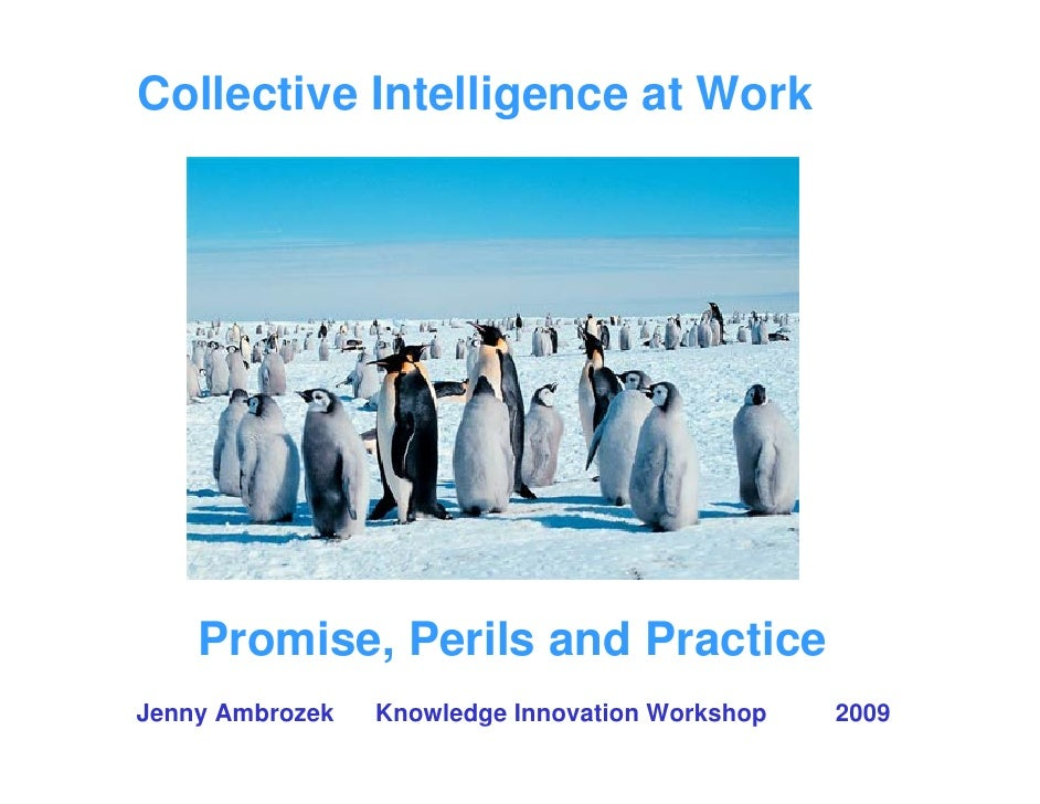 Collective Intelligence at Work         Promise, Perils and Practice Jenny Ambrozek   Knowledge Innovation Workshop   2009