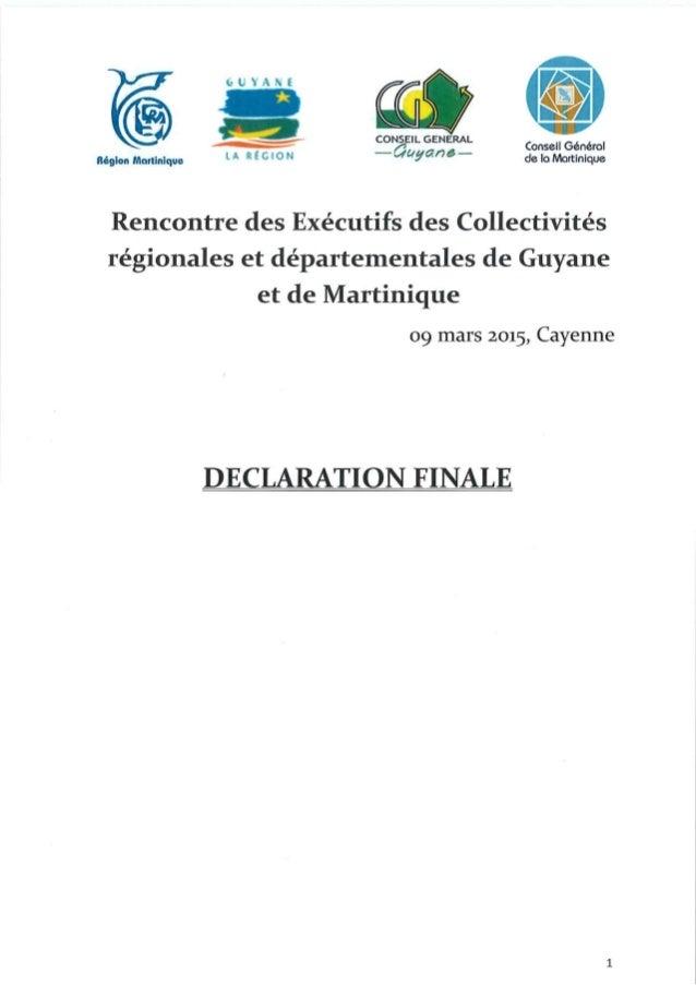 Collectivités uniques de Martinique et de Guyane, déclaration finale