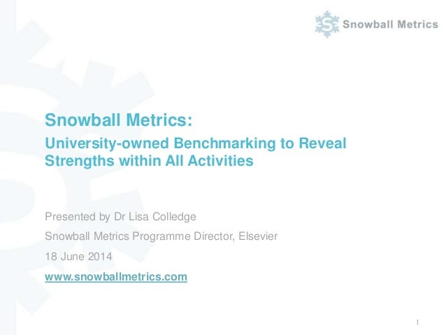 Presented by Dr Lisa Colledge Snowball Metrics Programme Director, Elsevier 18 June 2014 www.snowballmetrics.com Snowball ...