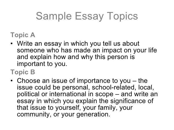 Topics to write college essay on