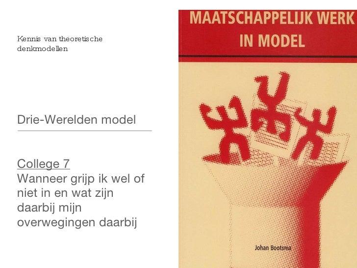 Kennis van theoretische denkmodellen <ul><li>Drie-Werelden model </li></ul><ul><li>College 7 </li></ul><ul><li>Wanneer gri...