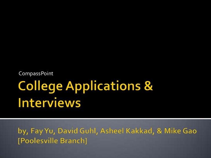 Poolesville | College Apps & Interviews