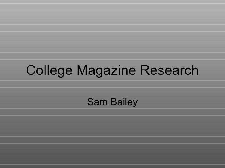 College Magazine Research