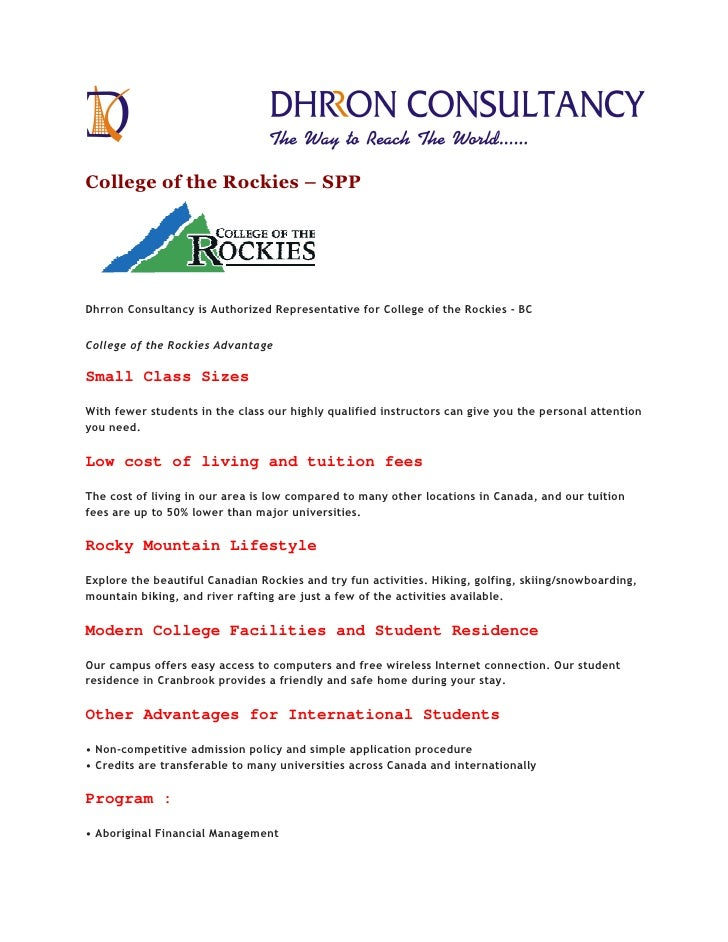 College of the Rockies – SPPDhrron Consultancy is Authorized Representative for College of the Rockies - BCCollege of the ...
