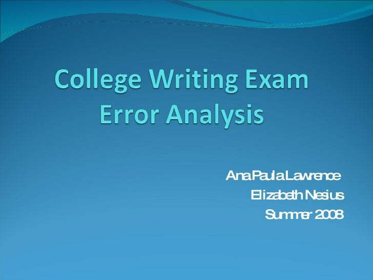 College Writing Exam Error Analysis